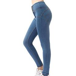 ZYYM Damen Treggings mit Jeansoptik Hohe Taille Leggings Jeans Look Skinny Hose Jeanshose Stretch Yogahose Slim Fit Streetwear Leggins Gemustert Tights Leggings Damen Sporthose Trainingshose von ZYYM