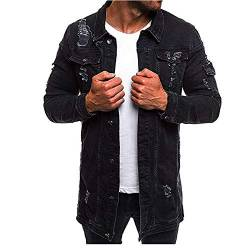 ZYYM Herren Jeansjacke Lange Biker Style Herbst Jeans Jacket Denim Jacke Frühlings Übergangsjacke Jeans Destroyed Vintage mit Patches Herren Mode Mantel Jeansjacke Denim Jacket von ZYYM