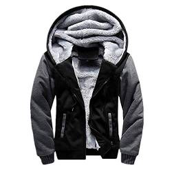 ZYYM Herren Kapuzenpullover mit Reißverschluss Langarm Kapuzenjacke Winter Warm Fleece-Innenseite Sweatshirt Plus Dicke Fleecejacke Sweatjacke Mit Kapuze Men's Hooded Pullover Jacket von ZYYM