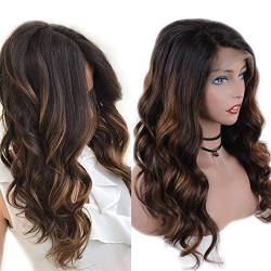Zana Long Ombre Brazilian Human Hair Lace Front Wigs For Black Women Highlight Color Body Wave Remy Hair Lace Wigs With Baby Hair Bleached Knots 16inch von ZanaWigs