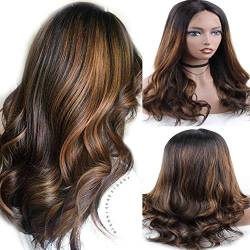 Zana Wigs Lace Front Wig Human Hair Highlights Short Ombre 100% Real Hair Wigs For Women Body Wave Brazilian Hair Wigs 16inch von ZanaWigs