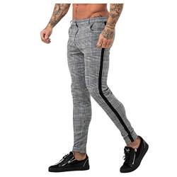 Zarupeng Männer Stoff Chinohose Karierter Streifen Sport Casual Lange Hosen Stretch Slim Bodybuilding Workout Hose Trainingshose Jogginghose Freizeithose von Zarupeng