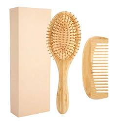 Wood Hair Bursh Und Wide Tooth Kamm Set, Bamboo Anti Static Friseur Hairstyling Scalp Massage Comb Für Langes Kurzes Lockiges Naturhaar(1#) von Zyyini