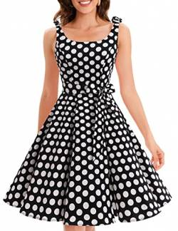 Bbonlinedress 1950er Vintage Polka Dots Pinup Retro Rockabilly Kleid Cocktailkleider Black White Big Dot S von Bbonlinedress