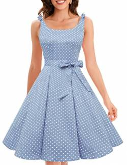 Bbonlinedress 1950er Vintage Polka Dots Pinup Retro Rockabilly Kleid Cocktailkleider Blue White Dot XL von Bbonlinedress