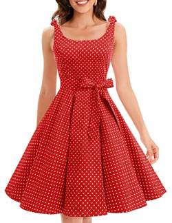 Bbonlinedress 1950er Vintage Polka Dots Pinup Retro Rockabilly Kleid Cocktailkleider Red White Dot 2XL von Bbonlinedress