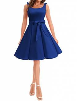 Bbonlinedress 1950er Vintage Polka Dots Pinup Retro Rockabilly Kleid Cocktailkleider Royalblue S von Bbonlinedress
