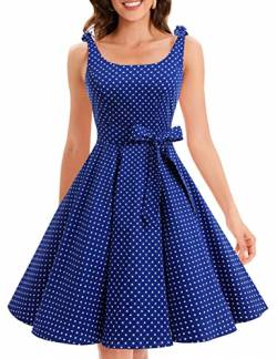 Bbonlinedress 1950er Vintage Polka Dots Pinup Retro Rockabilly Kleid Cocktailkleider Royalblue White Dot 3XL von Bbonlinedress