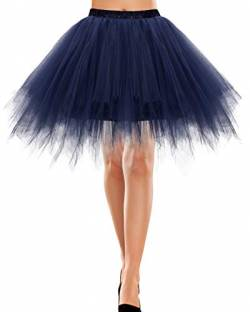 Bbonlinedress Rock Winter Damen Knielang Tüll Petticoat Unterrock Winter lang Petticoat Kleid Rock Winterabilly Petticoat Unterrock Winter kurz Tutu Ballet TüllRock Winter Crinoline Cosplay Navy M von Bbonlinedress