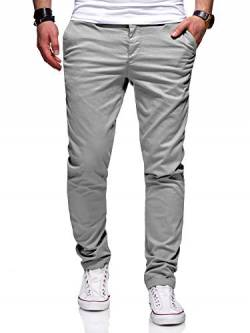 behype. Herren Basic Chino Jeans-Hose Stretch Regular Slim-Fit 80-0310,Hellgrau,33W / 30L von behype.