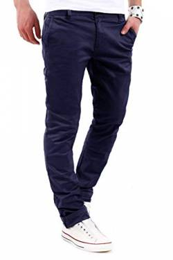 behype. Herren Basic Chino Jeans-Hose Stretch Regular Slim-Fit 80-0310,Marine,33W / 30L von behype.