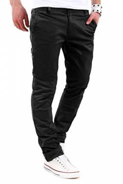 behype. Herren Basic Chino Jeans-Hose Stretch Regular Slim-Fit 80-0310,Schwarz,33W / 30L von behype.