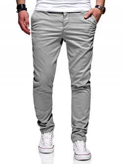 behype. Herren Basic Chino Jeans-Hose Stretch Regular Slim-Fit 80-0310,Hellgrau,38W / 34L von behype.