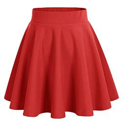 bridesmay Damenrock Basic Solid Vielseitige Dehnbaren Informell Minikleid Retro Mini Rock Faltenrock Red L von bridesmay