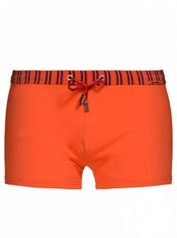bruno banani Herren Short Uni Beach Stripe Swim Bademode, BB Herren:Orange // Orange/Bordea 1929, Größe-BB Herren:XL/7 von bruno banani