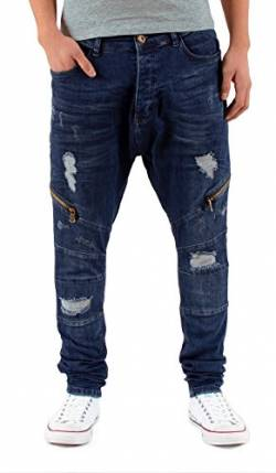 by-tex Herren Jeans Hose Slim Fit Jeanshose Destroyed Look Zipper Look Jeans Hose A432 von by-tex