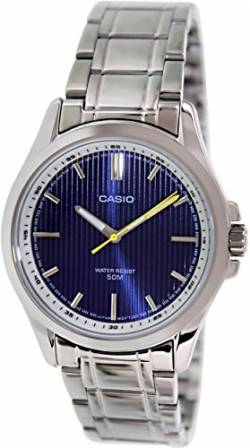Casio #MTP-E104D-2AV Men's Standard Analog Stainless Steel 50M Blue Dial Watch von Casio