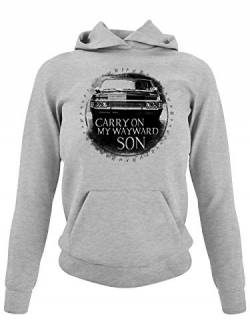 clothinx Carry On My Wayward Son Damen Kapuzen-Pullover Grau Gr. L von clothinx