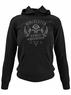 clothinx Winchester Family Business Skull Patch Design | Join The Hunt als Dämonenjäger im klassischen Biker Style Damen Kapuzen-Pullover Schwarz Gr. S von clothinx