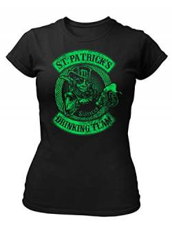 clothinx St. Patricks Day - Saint Patrick's Day Drinking Team Damen T-Shirt Fit Schwarz Gr. M von clothinx