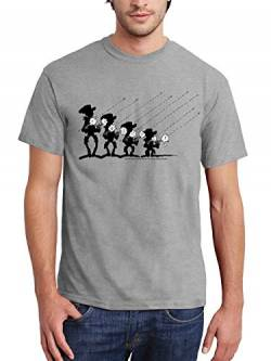 clothinx Herren T-Shirt Lucky Luke – The Daltons Shoot-Out Grau Größe L von clothinx