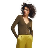 comma, Strickjacke mit dekorativen Rüschen Strickjacken olive Damen Gr. 42 von comma,