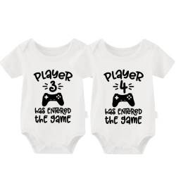 culbutomind Baby Body Twinset 2er Set Player 3 Player 4 Has Entered The Game Controller grau Fun Baby-Strampler Baby Geschenke Geburt Erstausstattung(Player 3/4 White 0-3Monat) von culbutomind