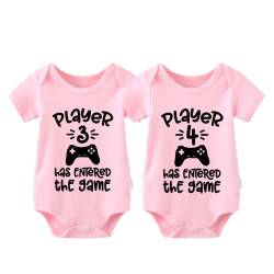 culbutomind Baby Body Twinset 2er Set Player 3 Player 4 Has Entered The Game Controller grau Fun Baby-Strampler Baby Geschenke Geburt Erstausstattung (Rosa, 4-6 Monat) von culbutomind