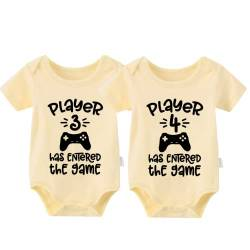 culbutomind Baby Body Twinset 2er Set Player 3 Player 4 Has Entered The Game Controller grau Fun Baby-Strampler Baby Geschenke Geburt Erstausstattung (Yellow, 4-6 Monat) von culbutomind