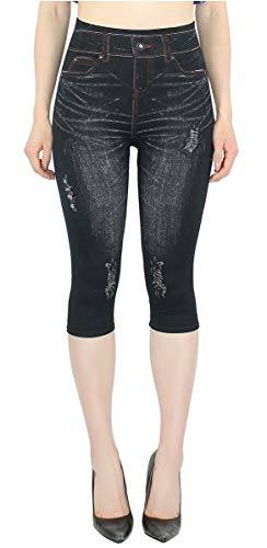 dy_mode Capri Leggings Damen Jeggings 3/4 Leggings in Jeans Optik One Size Gr.36/38/40-3LG132-135 (3LG133-BlackJeans) von dy_mode