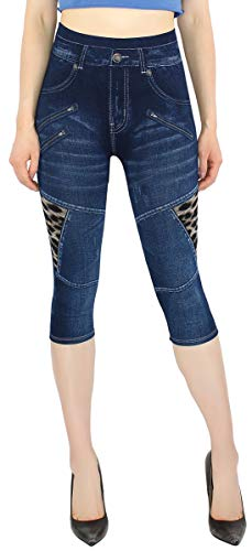 dy_mode Capri Leggings Damen Sommer Jeggings 3/4 Kurze Leggings in Jeans Optik - CLG057-058 (3LG307-OneSize Gr.36-42) von dy_mode
