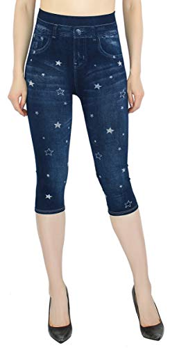 dy_mode Damen Capri Jeggings 3/4 Leggings in Jeans Optik - CLG057-058 (CLG058-OneSize Gr.36-40) von dy_mode