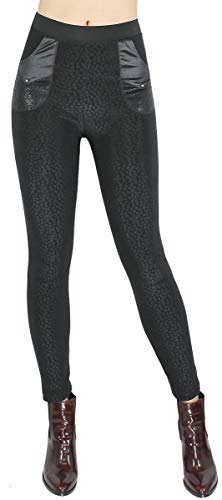dy_mode Thermo Hose Damen Winter Leggings mit Innenfutter - WL059-64 (WL105-Leo, 38/M) von dy_mode