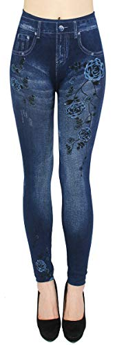 dy_mode Thermo Leggings Damen/Thermo Jeggings mit Innenfutter Teddyfleece Damen Thermo Leggins - Gr. 36-42 - WL046 (36/38 - S/M, WL092-ButterflyRoses) von dy_mode
