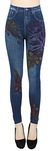 dy_mode Thermo Leggings Damen Jeggings gefüttert Jeansoptik - WL046 (36/38 - S/M, WL084-FantasyFlowers) von dy_mode