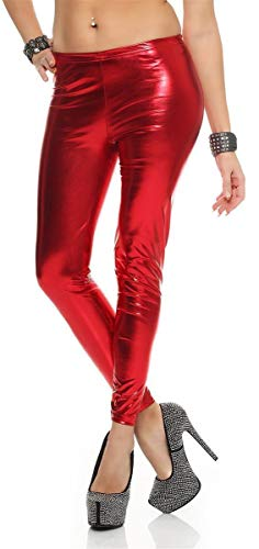 eloModa Leggings Latex Look schwarz Lack Glanz Legings Gr. 36 38 40 42 44 46 48 50 52 Rot 2XL von eloModa