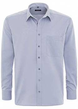 eterna Langarm Hemd Comfort Fit Chambray Unifarben, Silbergrau, W41, W16 Long Sleeve von eterna