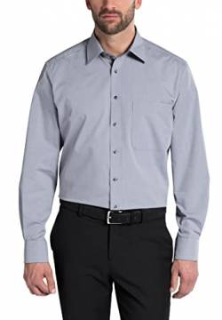 eterna Langarm Hemd Comfort Fit Chambray Unifarben, Silbergrau, W46, W18 Long Sleeve von eterna