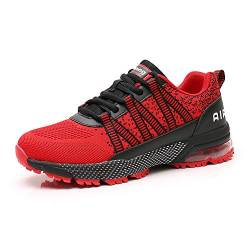 Sumateng Laufschuhe Herren Damen Sporttrainer Luftstoßdämpfung Sportschuhe Walkingschuhe Joggen Athletic Fitness Outdoor Red46 von Sumateng
