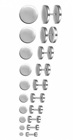 Feilok 10 Paar Edelstahl Herren Ohrstecker Creolen Tunnel Ohrringe für Damen Fakeplug Fake Plug Ohrringe Pierced Earrings Stud Earrings Set 3-14mm Silber von Feilok