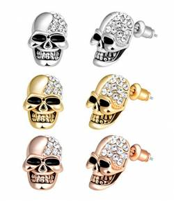 Feilok 3 paar Edelstahl Herren Ohrstecker Creolen Tunnel Ohrringe Totenkopf Zirkonia für Damen Fake Plug Pierced Earrings Stainless Steel Stud Earrings Set von Feilok