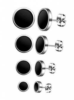Feilok 4 Paar Edelstahl Herren Ohrstecker Creolen Tunnel Ohrringe für Damen Fakeplug Fake Plug Ohrringe Herren Pierced Earrings 6 8 10 12mm Stud Earrings Set von Feilok