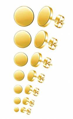 Feilok 7 Paar Edelstahl Herren Ohrstecker Creolen Tunnel Ohrringe für Damen Fakeplug Fake Plug Ohrringe Pierced Earrings 3 4 5 6 8 10 12mm Gold Mens Womens Stud Earrings Set von Feilok