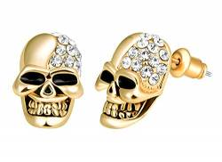 Feilok Edelstahl Herren Ohrstecker Creolen Tunnel Ohrringe Totenkopf Zirkonia für Damen Fake Plug Pierced Earrings Stainless Steel Stud Earrings Set Gold von Feilok