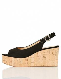 FIND Cork Peep Toe Sling Back Wedge Peeptoe Pumps, Schwarz (Black), 37 EU von find.