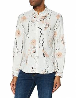 Amazon-Marke: find. Herren Floral Printed Hemden, Weiß (Weiß), M, Label: M von find.