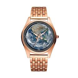 Minimalistische Goldene Fashion Quarz-Armbanduhr Elite Ultra Dünn wasserdichte Sportuhr Artistic Pattern - 308.World, Earth, Planet, Globe, Spaceview von girlsight1
