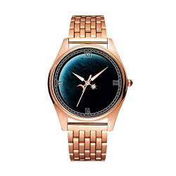 Minimalistische Goldene Fashion Quarz-Armbanduhr Elite Ultra Dünn wasserdichte Sportuhr künstlerisches Muster 248 Planet, Mond, Raum, Reise von girlsight1