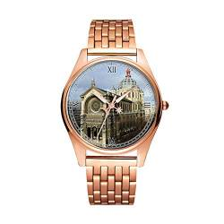 Minimalistische Goldene Fashion Quarz-Armbanduhr Elite Ultra Dünn wasserdichte Sportuhr künstlerisches Muster 259.Saint-Augustin Kirche von girlsight1