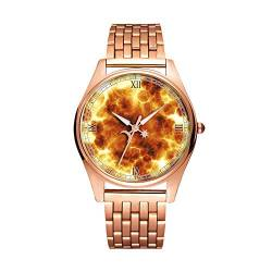 Minimalistische Goldene Fashion Quarz-Armbanduhr Elite Ultra Thin wasserdichte Sportuhr Artistic Pattern - 128.Fire Explosion Hot Burn Energy von girlsight1